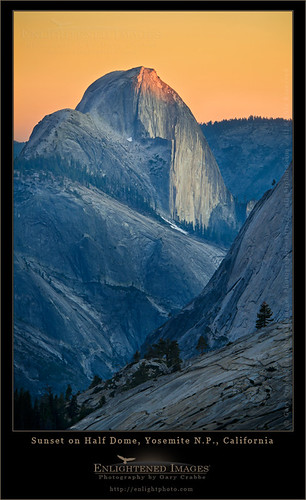Sunset light on Half Dome,