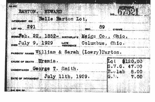 Edward Barton Interment Card