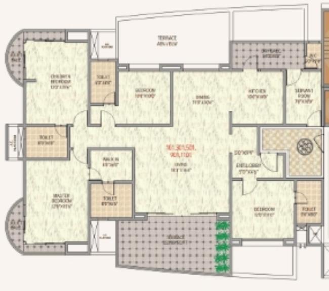 Metro Jazz Mhalunge Baner Pune 4 BHK Flats Odd Floor Plan