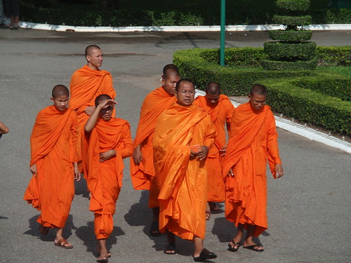 Monk with orange phone