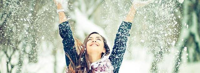 Happy Girl In Snow Facebook Cover Photo