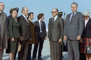 Prime Minister Begin and Vice-President Secretary of State Vance at Andrews AFB, March 21, 1978