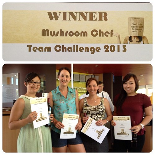 Woot! Winning mushroom challenge team! Way to go @melbfoodblog @feedyoursoul_perth @milkteaxx #edb13 #powerofmushrooms
