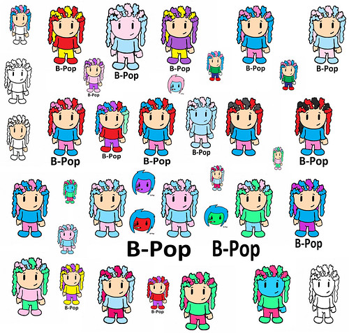 , B-Pop Rasta Pop B-Pop Funky Hair Color Island Style Girls Braids Skater Pink Purple Red Corn Row Dreadlocks Rastafarian Cartoon Poster, My cartoon Blog, My cartoon Blog