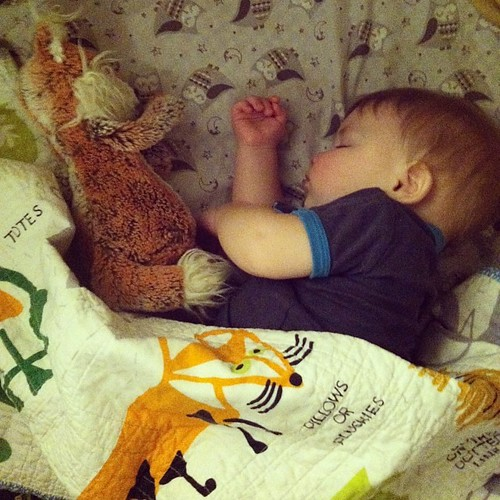 10:09pm { birth moment. Fast asleep. My sweet baby now considered a toddler, is still my sweet baby to me. Sleeping with his fox he got from his Grandma Wojo and Fox blanket from Grandma Swanson both gifts when he was born. My precious 5th boy. I cannot i
