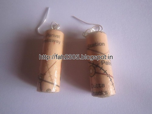 Handmade Jewelry - Rolled Cylinder Paper Earrings (1) by fah2305