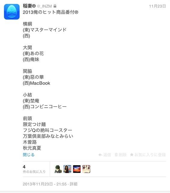 2013俺のヒット商品番付®