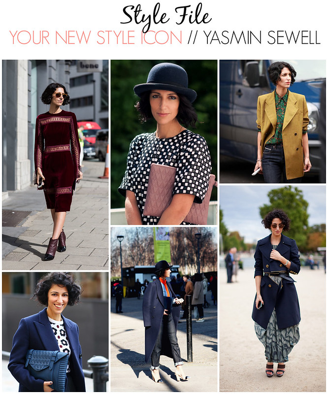 Collage of Yasmin Sewell's street style and outfit choices