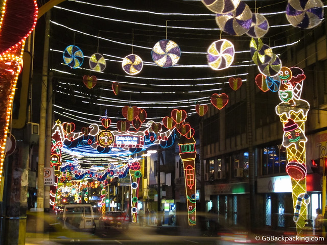 Lights hang over the surrounding streets too