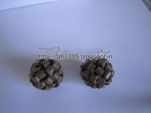 Handmade Jewelry - Paper Quilling Globle Earrings (Dark Brown - H) (2) by fah2305