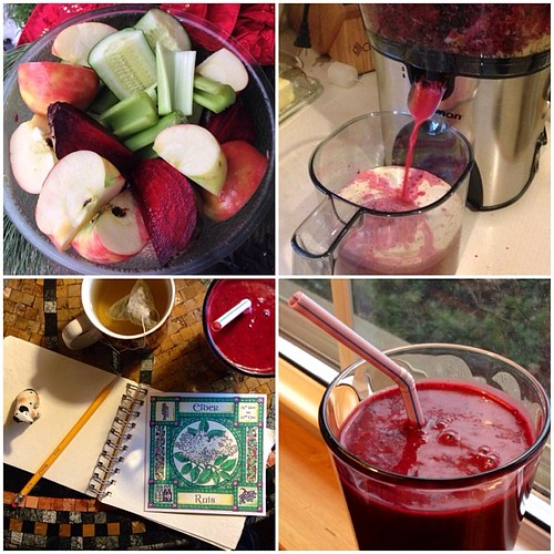 Nourishing beetroot, apple & avocado smoothie for winter #solstice breakfast. Score: mom has a juicer.