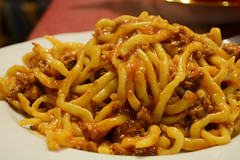 fried noodles(0.0), bucatini(0.0), spaghetti(0.0), macaroni(0.0), naporitan(0.0), cheese fries(0.0), pici(1.0), food(1.0), dish(1.0), chinese noodles(1.0), carbonara(1.0), yaki udon(1.0), bigoli(1.0), cuisine(1.0), chow mein(1.0),