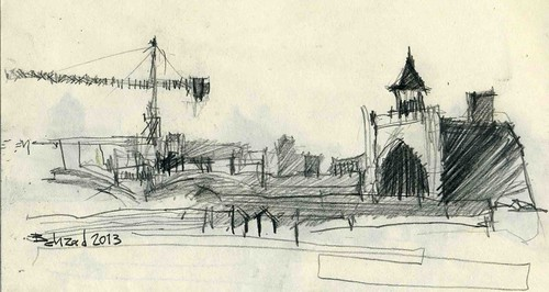 A Mosque / On the Roof of the Bazaar by Behzad Bagheri Sketches