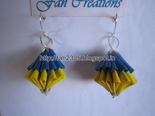 Handmade Jewelry - Origami Paper Unit Diamonds Earrings (T2) (1) by fah2305