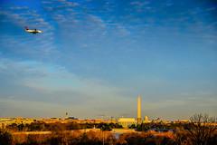 Vista of Washington DC Memorial and Monument Skyline at Sunset