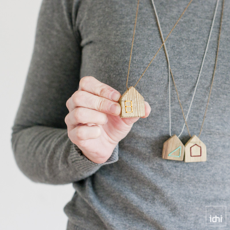 wood house necklace yellow 1