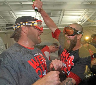 Red Sox Players Celebrate With Oakley Goggles And Champagne