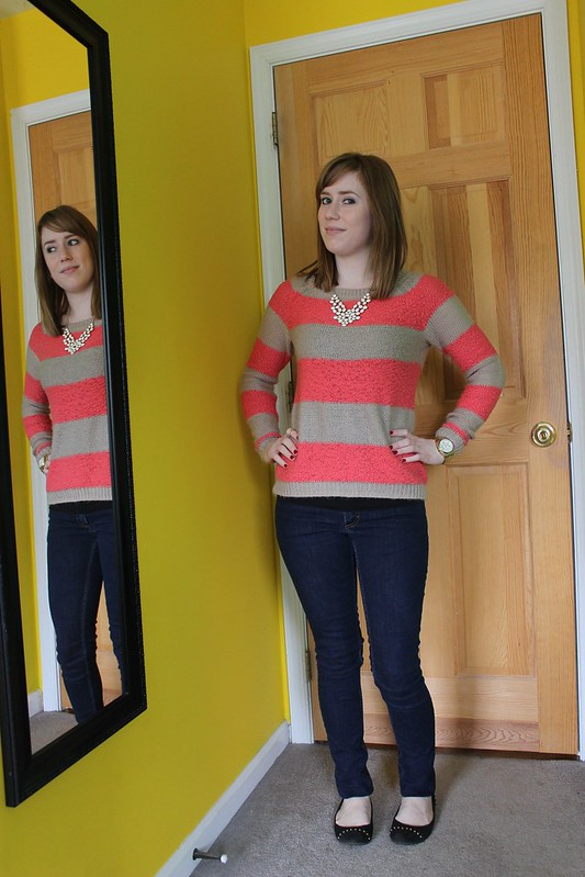 redhead fashion, LC Lauren Conrad, Lauren Conrad clothing line, Lauren Conrad Kohl's, LC Lauren Conrad Striped Sweater, striped sweater, women's sweaters, Forever 21, Acne, Acne jeans, Merona, Merona flats, Target, statement necklace, Leslie Danzis, Michael Kors, Michael Kors watch