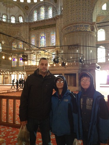 kids visiting inside Blue mosque