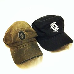 My old, loved weather beaten road trippin, world famous #skinnypuppy hat will be retired for special occasions only. I\'m still warming up to the new logo on the new one though.