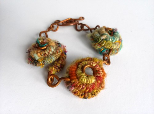 "Coiled Handspun Bracelet, handspun wirecore yarn, copper, 1""x7"""