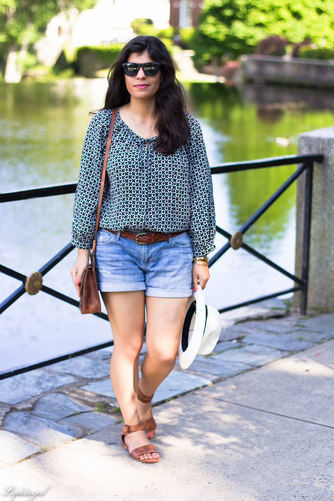 denim shorts, bohemian blouse, trask bag.jpg
