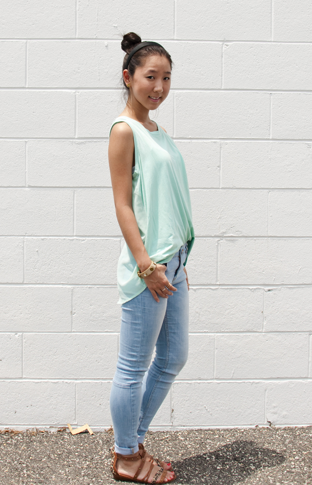 ootd, outfit of the day, personal style, light wash skinny jeans, light wash jeans, sheer, sheer top, pastel top, sandals, summer fashion