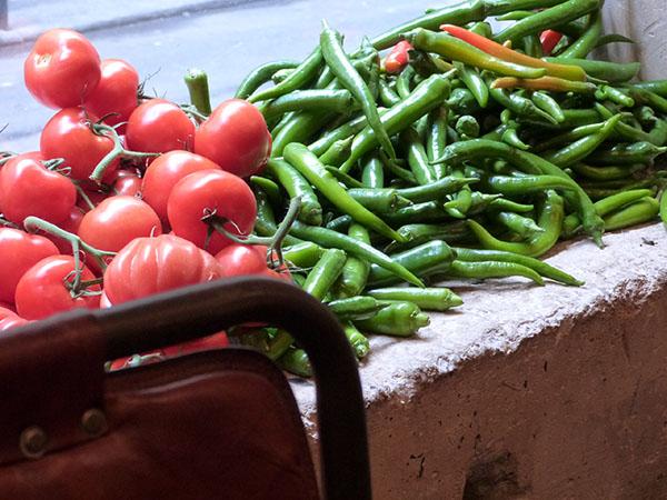 tomates et poivrons verts
