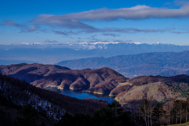大菩薩湖と南アルプス@狼平
