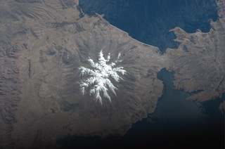 A snowy peak near La Paz, Bolivia, reminds me of a white poinsettia!