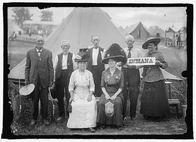 Union veterans and supporters at the 50th Reunion of the battle, held in Gettysburg in 1913. The National Photo Company news service posed a striking Grand Army of the Republic group from Indiana (LOC)