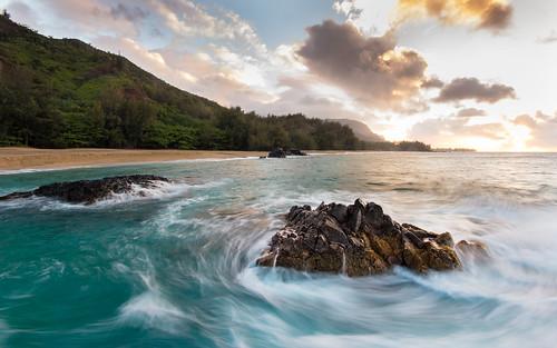 longexposure sea hawaii rocks day cloudy turquoise wash kauai chop swell hanaleibay lumahaibeach sigma1020 60d northshorekauai