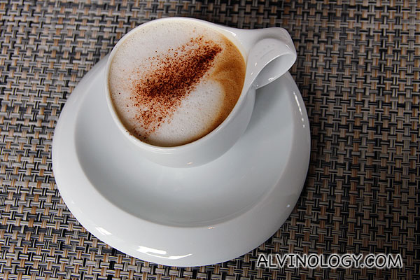 A nicely prepared cup of cappuccino to conclude my brunch