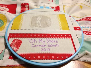 Embroidered quilt label tute