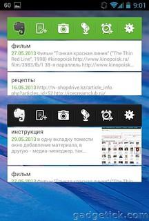 Виджет Evernote для Android