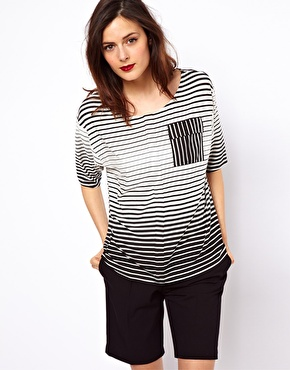 ASOS T-Shirt in Stripe with Pocket Detail