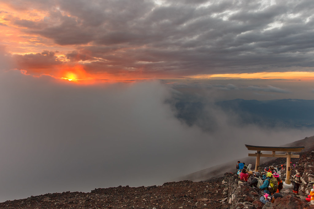 Sunrise at the top of Mt. Fuji
