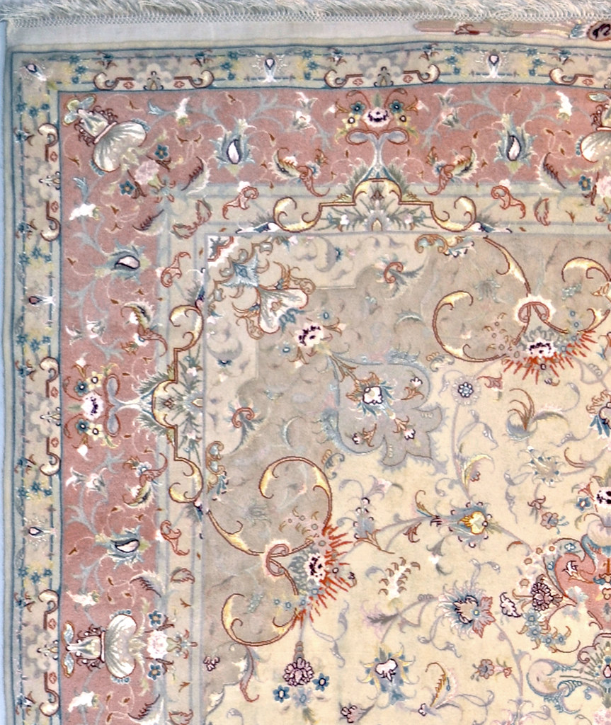 Fabulous Tabriz Olia Cream & Peach Persian Area Rug 7x10