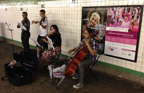 String quartet playing Bach, 14th St. station