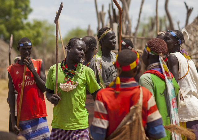 Karo People Participating In A Tribal Dance Ceremony, Duss, Omo Valley, Ethiopia