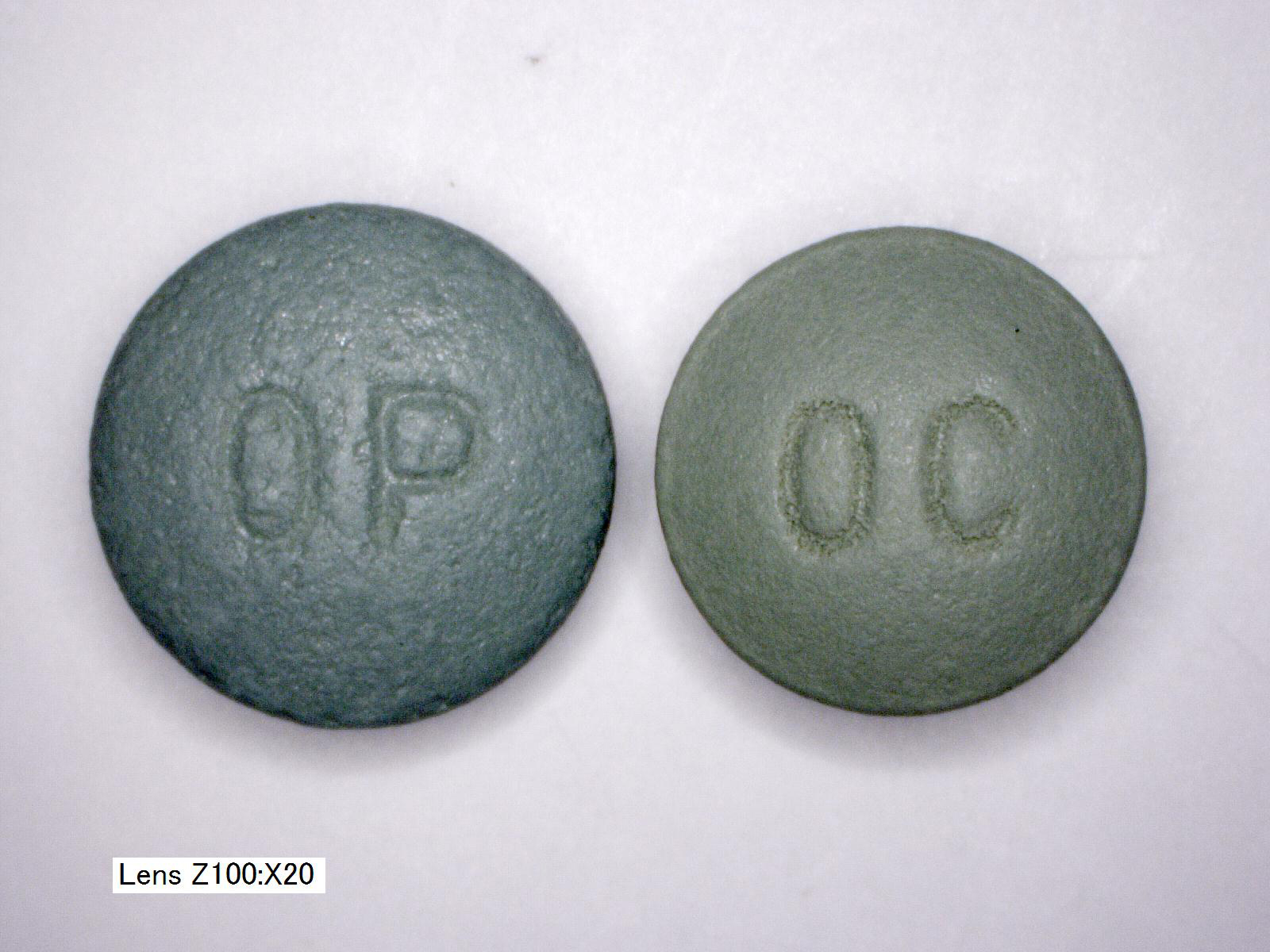 OxyContin OC vs OP 80mg front comparison