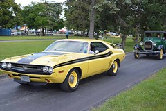 plymouth duster(0.0), automobile(1.0), automotive exterior(1.0), vehicle(1.0), performance car(1.0), dodge challenger(1.0), land vehicle(1.0), muscle car(1.0), sports car(1.0),