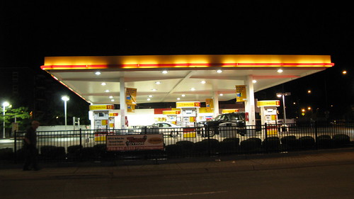 The Shell convience gasoline station at Harlem and Higgins Avenues.  Chicago Illinois. 2012. by Eddie from Chicago