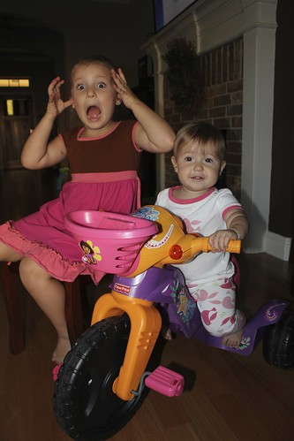 Cheyenne Teaches Dakota How to Ride a Tricycle