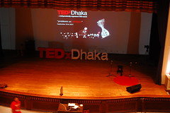 The stage getting ready for TEDxDhaka 2013