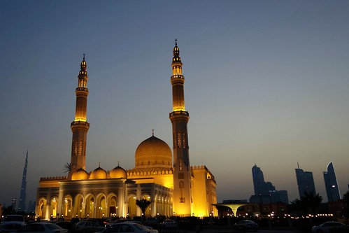 sunset skyline lights dubai uae mosque