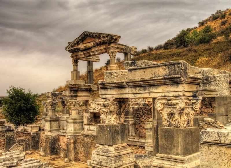 a temple in the Ruins of Ephesus, Turkey