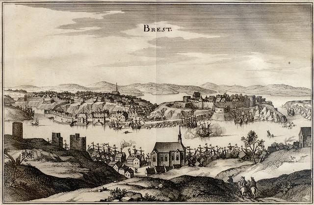 MERIAN Matthaüs (d'après) 1630-40 Vue cavalière de Brest