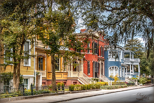 Colorful homes in Savannah
