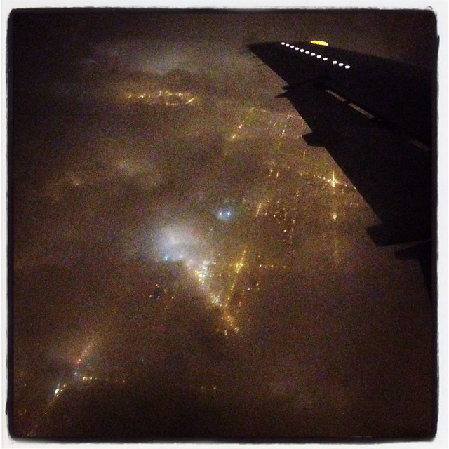 Over cloudy Chicago at night